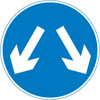 Vehicular traffic may reach the same destination by passing either side of the sign