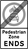 End of restrictions associated with a pedestrian zone