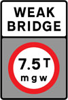 Vehicles exceeding a gross weight of 7.5T prohibited from crossing the bridge or structure