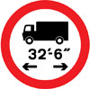 Vehicles exceeding 32'-6'' in width indicated prohibited