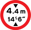 Vehicles exceeding height indicated are prohibited. Height is displayed in both metric and imperial units