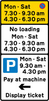 Waiting prohibited during the periods indicated (upper panel), loading prohibited during periods indicated (middle panel), and