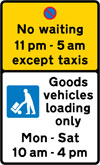 Prohibition on waiting by vehicles other than taxis during the period indicated (upper panel), and carriage way reserved for loading and unloading of goods vehicles during the period indicated
