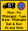 Waiting by goods vehicles over a gross weight of 5T prohibited during the periods and in the direction indicated