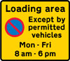 Entrance to a designated off-highway loading area in which waiting restrictions apply