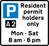 Parking place reserved for resident permit holders during the time period indicated