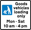 Bay reserved for loading and unloading by goods vehicles during the period indicated