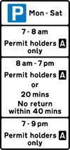 Parking place for permit holders with limited waiting permitted by others at specified times