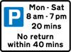 Free parking for all vehicles, with restrictions on length of waiting time and return period