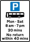 Parking place for buses only during the times shown