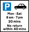 Free parking for motor cars only, with restrictions on length of waiting time and return period