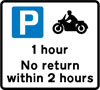 Free parking for motor cycles only, with restrictions on length of waiting time and return period