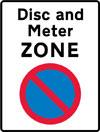 Entrance to a disc and meter parking zone