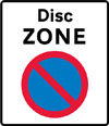 Entrance to a disc parking zone