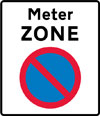 Entrance to a meter parking zone