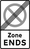 End of controlled or voucher parking zone