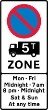 Entrance to a controlled parking zone applying to goods vehicles over a gross weight of 5T during the period indicated