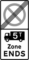 End of a controlled parking zone applying to goods vehicles over a gross weight of 5T