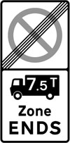 End of a controlled parking zone applying to goods vehicles over a gross weight of 7.5T