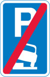 End of area where vehicles may be parked partially on the verge or footway