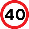 Maximum speed limit of 40 miles per hour