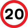 Maximum speed limit of 20 miles per hour