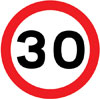 Maximum speed limit of 30 miles per hour