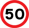 Maximum speed limit of 50 miles per hour