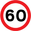 Maximum speed limit of 60 miles per hour