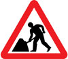 Road works or temporary obstruction of the carriageway ahead