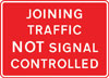 Traffic joining a length of road being controlled by portable traffic signals is not controlled by these signals