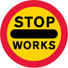 Vehicular traffic should not proceed beyond the sign when displayed during works on or near the road