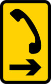 Direction to emergency telephone or telephone at or near a railway or tramway level crossing