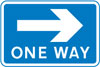 One-way traffic in direction indicated (sign for pedestrians)