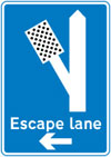 Direction to escape lane to the left for vehicles unable to stop on a steep hill