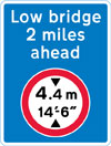 Advance warning of a mandatory height restriction ahead