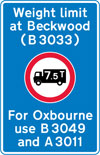 Location of a weight restriction ahead with indication of an alternative route