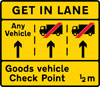 Goods vehicles should get into the left hand lane of a three lane carriageway on the approach to a goods vehicle check point