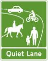 Start of a designated quiet lane in England