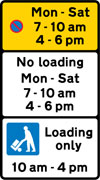 Bay reserved for loading and unloading by goods vehicles during the period indicated, and waiting prohibited during the period indicated