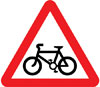 Cycle route ahead warning