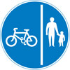 Route comprising a separated track and path for cycles and pedestrians