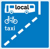 With-flow bus lane which pedal cycles and taxis may also use ahead