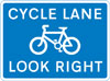 Cycle lane with traffic proceeding from right (pedestrian reminder)