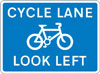 Cycle lane with traffic proceeding from left (pedestrian reminder)