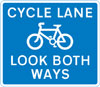 Cycle lane with traffic approaching from both ways (pedestrian reminder)