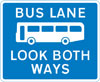 Bus lane with traffic proceeding from both ways  (reminder for pedestrians)