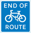 End of cycle lane, track or route