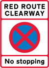 Entrance to red route clearway