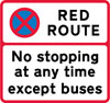 No stopping for any purpose at any time except buses